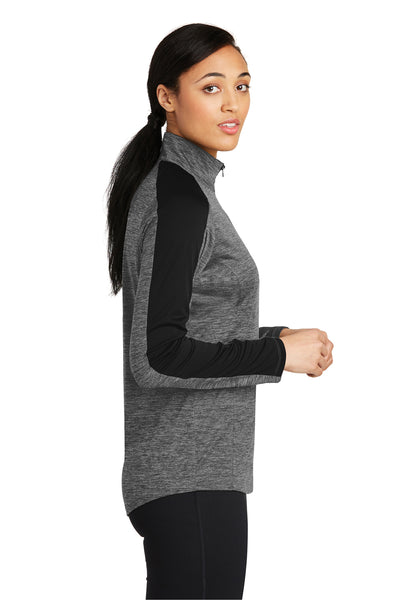 Sport-Tek LST397 Womens Electric Heather Moisture Wicking 1/4 Zip Sweatshirt Grey Side