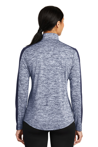 Sport-Tek LST397 Womens Electric Heather Moisture Wicking 1/4 Zip Sweatshirt Navy Blue Back