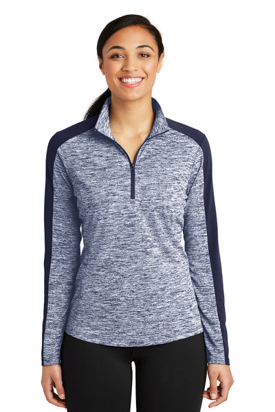 Sport-Tek LST397 Womens Electric Heather Moisture Wicking 1/4 Zip Sweatshirt Navy Blue Front