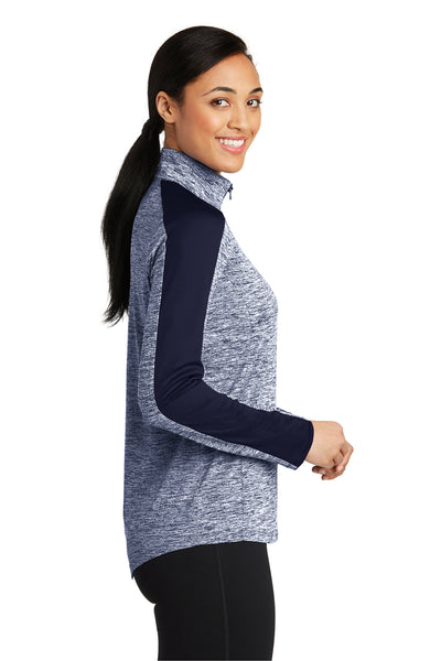 Sport-Tek LST397 Womens Electric Heather Moisture Wicking 1/4 Zip Sweatshirt Navy Blue Side