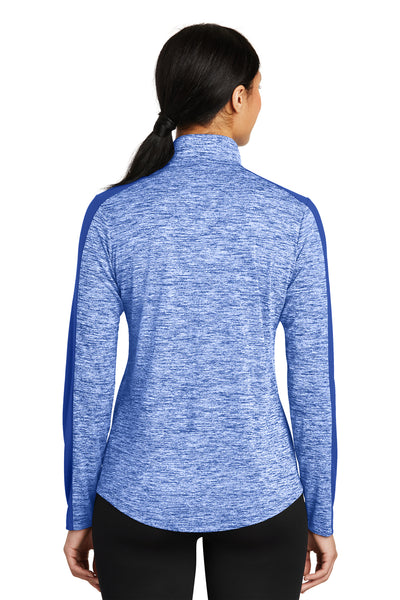 Sport-Tek LST397 Womens Electric Heather Moisture Wicking 1/4 Zip Sweatshirt Royal Blue Back
