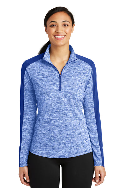Sport-Tek LST397 Womens Electric Heather Moisture Wicking 1/4 Zip Sweatshirt Royal Blue Front