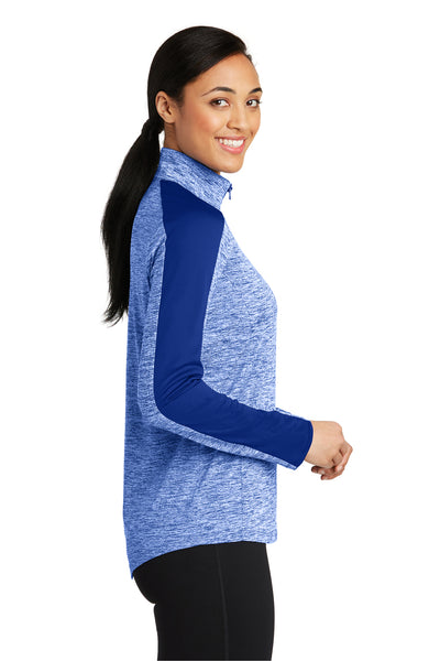 Sport-Tek LST397 Womens Electric Heather Moisture Wicking 1/4 Zip Sweatshirt Royal Blue Side