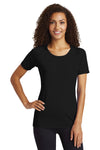 Sport-Tek LST400 Womens Moisture Wicking Short Sleeve Scoop Neck T-Shirt Black Front