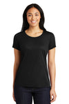 Sport-Tek LST450 Womens Competitor Moisture Wicking Short Sleeve Scoop Neck T-Shirt Black Front