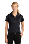 Sport-Tek LST650 Womens Sport-Wick Moisture Wicking Short Sleeve Polo Shirt Black Front