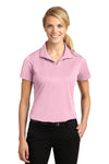 Sport-Tek LST650 Womens Sport-Wick Moisture Wicking Short Sleeve Polo Shirt Pink Front