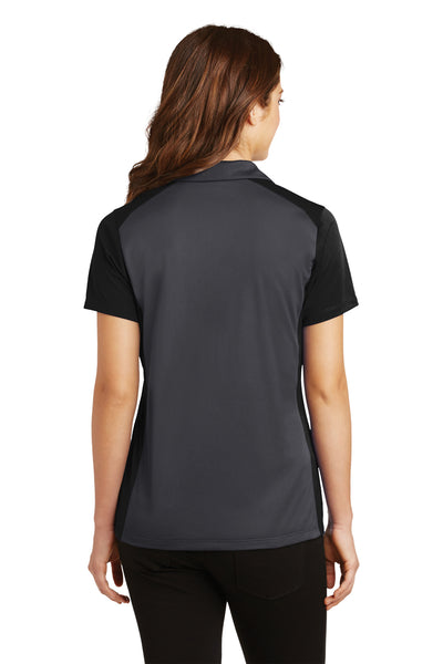 Sport-Tek LST652 Womens Sport-Wick Moisture Wicking Short Sleeve Polo Shirt Iron Grey/Black Back