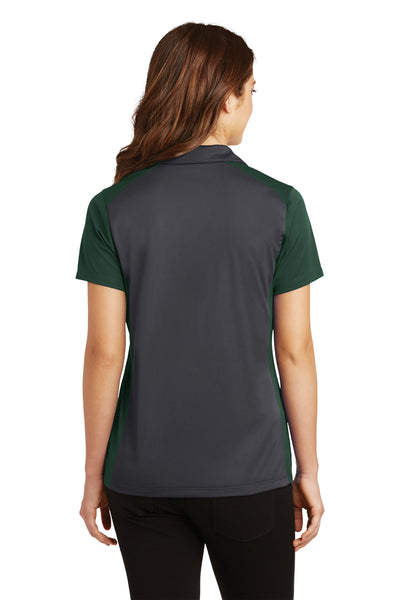 Sport-Tek LST652 Womens Sport-Wick Moisture Wicking Short Sleeve Polo Shirt Iron Grey/Forest Green Back