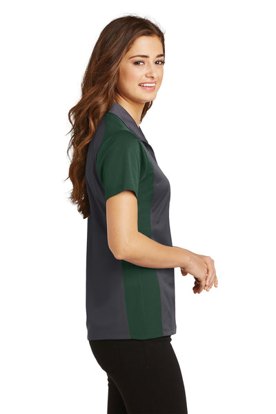 Sport-Tek LST652 Womens Sport-Wick Moisture Wicking Short Sleeve Polo Shirt Iron Grey/Forest Green Side