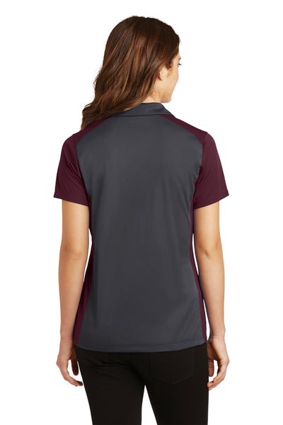 Sport-Tek LST652 Womens Sport-Wick Moisture Wicking Short Sleeve Polo Shirt Iron Grey/Maroon Back