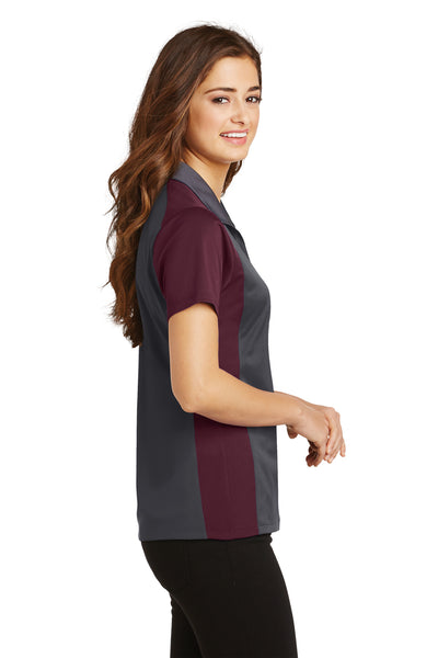 Sport-Tek LST652 Womens Sport-Wick Moisture Wicking Short Sleeve Polo Shirt Iron Grey/Maroon Side