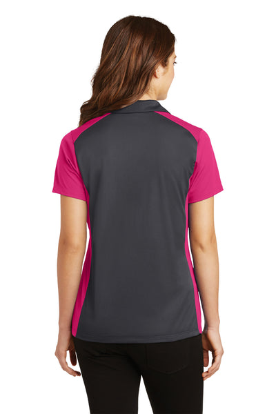Sport-Tek LST652 Womens Sport-Wick Moisture Wicking Short Sleeve Polo Shirt Iron Grey/Fuchsia Pink Back