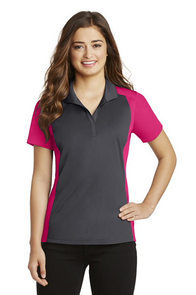 Sport-Tek LST652 Womens Sport-Wick Moisture Wicking Short Sleeve Polo Shirt Iron Grey/Fuchsia Pink Front