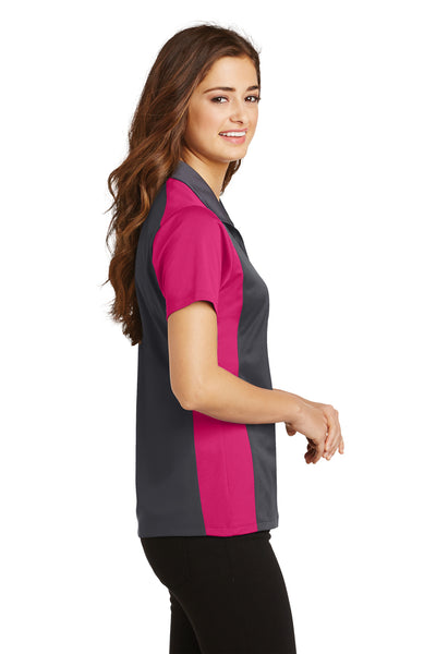 Sport-Tek LST652 Womens Sport-Wick Moisture Wicking Short Sleeve Polo Shirt Iron Grey/Fuchsia Pink Side
