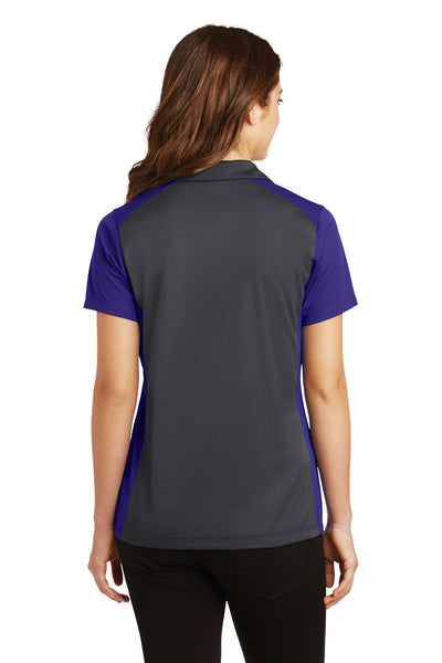 Sport-Tek LST652 Womens Sport-Wick Moisture Wicking Short Sleeve Polo Shirt Iron Grey/Purple Back