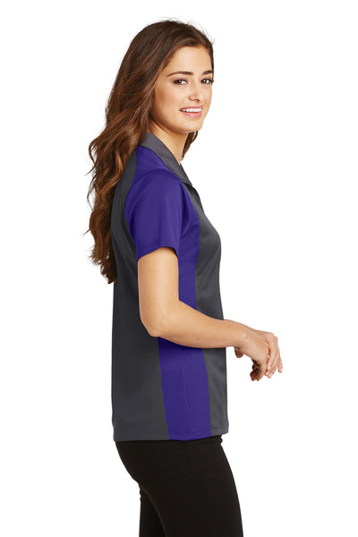 Sport-Tek LST652 Womens Sport-Wick Moisture Wicking Short Sleeve Polo Shirt Iron Grey/Purple Side