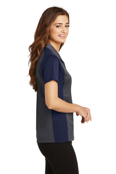 Sport-Tek LST652 Womens Sport-Wick Moisture Wicking Short Sleeve Polo Shirt Iron Grey/Navy Blue Side