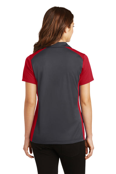Sport-Tek LST652 Womens Sport-Wick Moisture Wicking Short Sleeve Polo Shirt Iron Grey/Red Back