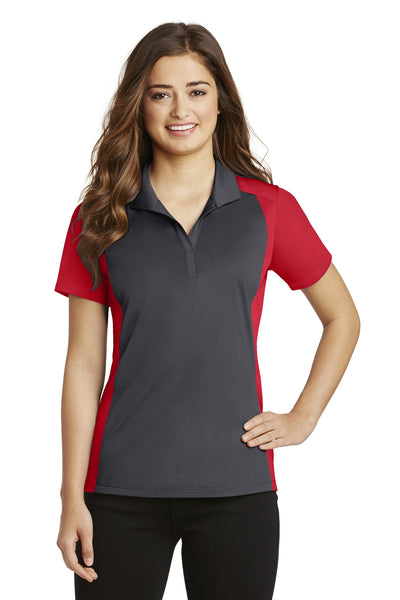 Sport-Tek LST652 Womens Sport-Wick Moisture Wicking Short Sleeve Polo Shirt Iron Grey/Red Front