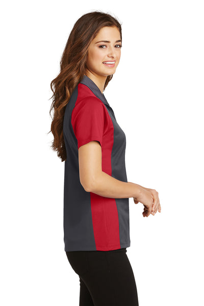 Sport-Tek LST652 Womens Sport-Wick Moisture Wicking Short Sleeve Polo Shirt Iron Grey/Red Side