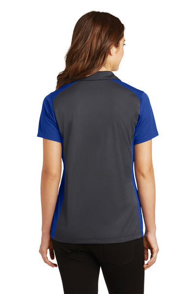 Sport-Tek LST652 Womens Sport-Wick Moisture Wicking Short Sleeve Polo Shirt Iron Grey/Royal Blue Back