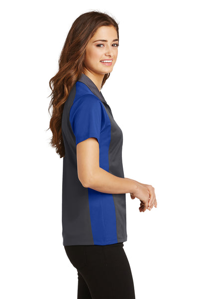 Sport-Tek LST652 Womens Sport-Wick Moisture Wicking Short Sleeve Polo Shirt Iron Grey/Royal Blue Side