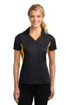 Sport-Tek LST655 Womens Sport-Wick Moisture Wicking Short Sleeve Polo Shirt Black/Gold Front