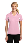 Sport-Tek LST655 Womens Sport-Wick Moisture Wicking Short Sleeve Polo Shirt Pink Front