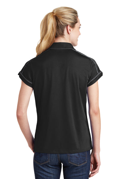 Sport-Tek LST659 Womens Sport-Wick Moisture Wicking Short Sleeve Polo Shirt Black Back