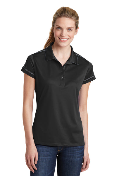 Sport-Tek LST659 Womens Sport-Wick Moisture Wicking Short Sleeve Polo Shirt Black Front