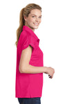 Sport-Tek LST659 Womens Sport-Wick Moisture Wicking Short Sleeve Polo Shirt Fuchsia Pink Side