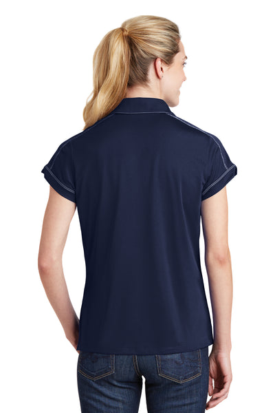 Sport-Tek LST659 Womens Sport-Wick Moisture Wicking Short Sleeve Polo Shirt Navy Blue Back