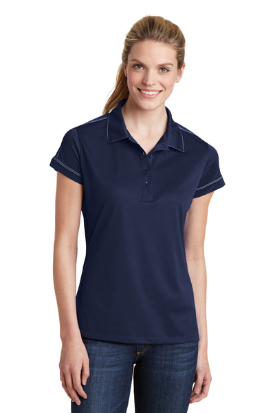 Sport-Tek LST659 Womens Sport-Wick Moisture Wicking Short Sleeve Polo Shirt Navy Blue Front