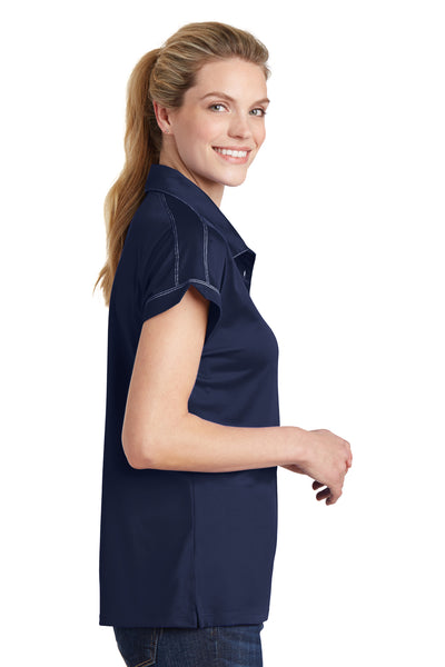 Sport-Tek LST659 Womens Sport-Wick Moisture Wicking Short Sleeve Polo Shirt Navy Blue Side