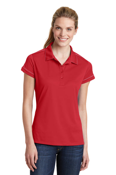 Sport-Tek LST659 Womens Sport-Wick Moisture Wicking Short Sleeve Polo Shirt Red Front