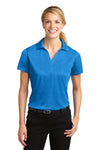 Sport-Tek LST660 Womens Heather Contender Moisture Wicking Short Sleeve Polo Shirt Blue Wake Front