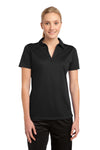 Sport-Tek LST690 Womens Active Mesh Moisture Wicking Short Sleeve Polo Shirt Black Front