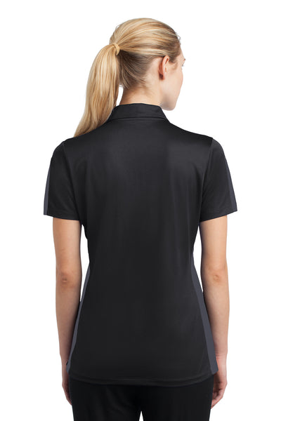 Sport-Tek LST695 Womens Active Mesh Moisture Wicking Short Sleeve Polo Shirt Black/Grey Back