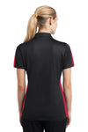 Sport-Tek LST695 Womens Active Mesh Moisture Wicking Short Sleeve Polo Shirt Black/Red Back