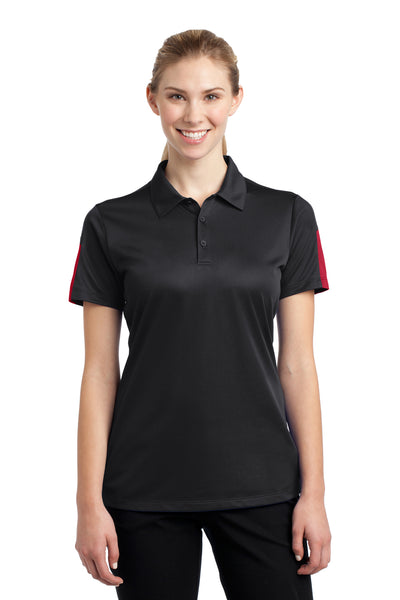 Sport-Tek LST695 Womens Active Mesh Moisture Wicking Short Sleeve Polo Shirt Black/Red Front