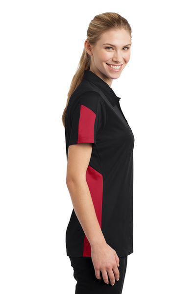 Sport-Tek LST695 Womens Active Mesh Moisture Wicking Short Sleeve Polo Shirt Black/Red Side