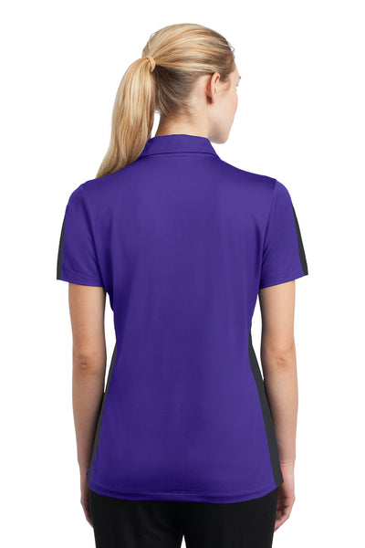 Sport-Tek LST695 Womens Active Mesh Moisture Wicking Short Sleeve Polo Shirt Purple/Grey Back