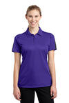 Sport-Tek LST695 Womens Active Mesh Moisture Wicking Short Sleeve Polo Shirt Purple/Grey Front