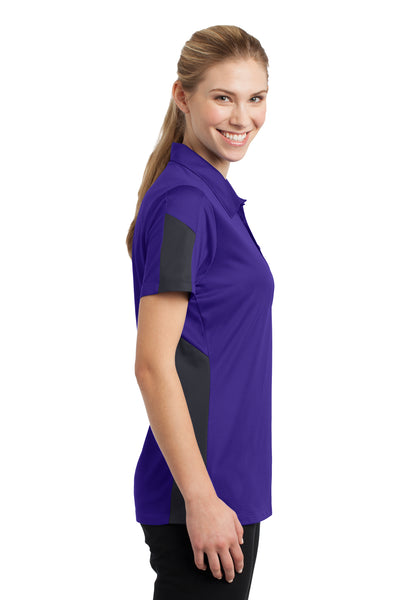 Sport-Tek LST695 Womens Active Mesh Moisture Wicking Short Sleeve Polo Shirt Purple/Grey Side
