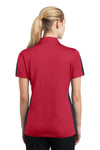 Sport-Tek LST695 Womens Active Mesh Moisture Wicking Short Sleeve Polo Shirt Red/Grey Back