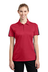 Sport-Tek LST695 Womens Active Mesh Moisture Wicking Short Sleeve Polo Shirt Red/Grey Front