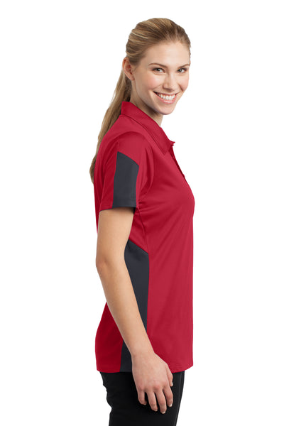 Sport-Tek LST695 Womens Active Mesh Moisture Wicking Short Sleeve Polo Shirt Red/Grey Side