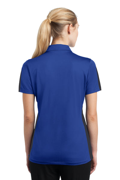 Sport-Tek LST695 Womens Active Mesh Moisture Wicking Short Sleeve Polo Shirt Royal Blue/Grey Back