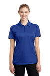 Sport-Tek LST695 Womens Active Mesh Moisture Wicking Short Sleeve Polo Shirt Royal Blue/Grey Front